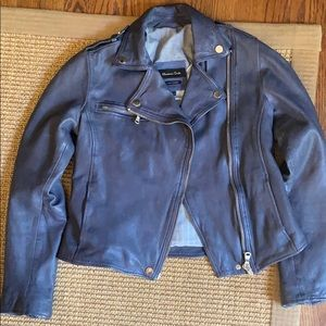 Massimo Dutti Leather Jacket Size Small